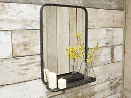 industrial metal wall mounted bathroom mirror storage display
