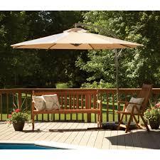 Teak Patio Umbrella by Beige Rectangle Outdoor Umbrella For Deck Under Teak Wood Bench