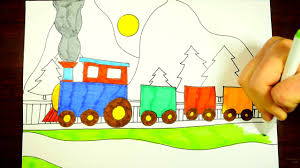 how to draw a train step by step for kids easy youtube