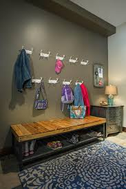 Entryway Bench And Storage Shelf With Hooks Simple Entryway Storage Bench Design With Iron Wire Basket Coat