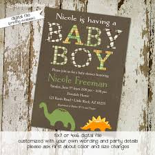 dinosaur baby shower invitation boy sprinkle diapers couple