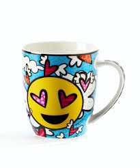Design Mug Britto Bone China Mug Emoji Design Flying Heart Artreco