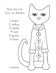 cat color by number coloring free coloring pages