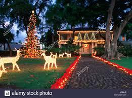 christmas lights washington place honolulu hawaii stock photo