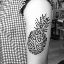 tattoo geometric outline black outline geometric pineapple tattoo on left half sleeve