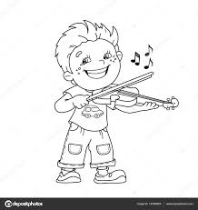 coloring page outline of cartoon boy playing the violin musical
