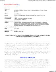equity and excellence providing access to gifted education for