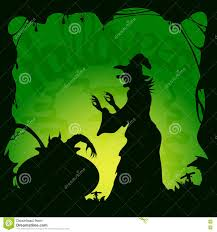 halloween theme background halloween green background with demon and witch stock vector
