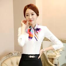 scarf blouse autumn color blouse scarf collar design business shirt