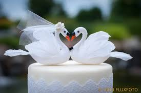 white swan cake topper and groom bird - Swan Wedding
