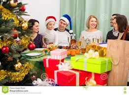 family gathering together for celebration stock photo