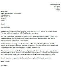 retirement resignation letter example resignation letter examples