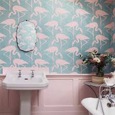 Wallpaper Bathroom Designs by Flamingo Wallpaper Interior Details Pinterest Flamingo