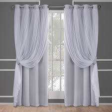 Grey And White Curtains Catarina Cloud Grey Layered Solid Blackout And Sheer Grommet Top