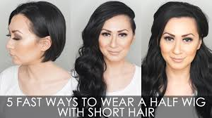 5 fast ways to wear a half wig for short hair youtube