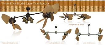Patio Ceiling Fans Outdoor 35 Inch Double Twin Star Tropical Ceiling Fan With Abs Blades In Tan