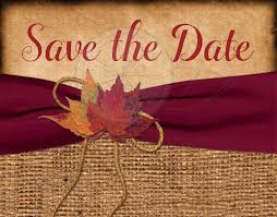 rustic wedding save the date postcard printed wine ribbon autumn