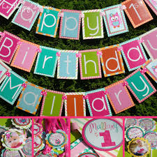 pink owl birthday party fully assembled decorations