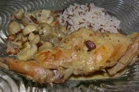 cuisiner du lapin facile recette de lapin sauté à la crème à la moutarde et aux chignons