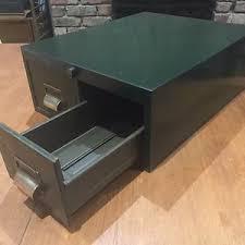 Desktop Filing Cabinet Retro Industrial Army Green Metal Two Drawer Desktop Filing