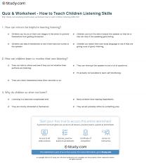 Smart Goals Worksheet For Kids Quiz U0026 Worksheet How To Teach Children Listening Skills Study Com