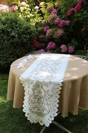 lace favor bags faux burlap tablecloth with lace table runners and party