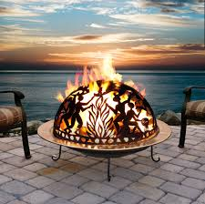Portable Gas Firepit Imposing Wildlife Design Outdoor Wood Burning Pit F Patina S
