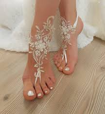 barefoot sandals ivory gold frame pearl beaded wedding barefoot