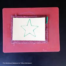 montessori writing paper montessori art trays for toddlers trillium montessori this is a great activity for children to prepare for writing improving their hand control and strength by working to stay on the line