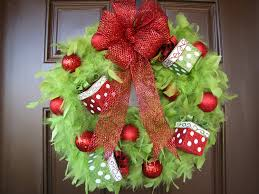 christmas wreath lime green feather wreath with red ornaments and