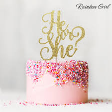 glitter cake topper he or she glitter cake topper girl or boy birthday decor baby
