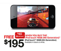 target black friday gift cards black friday 2012 ad features 195 ipod touch 16gb 4th gen with