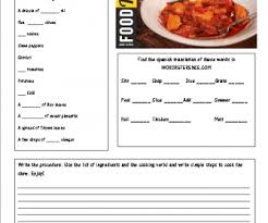 82 free cooking worksheets
