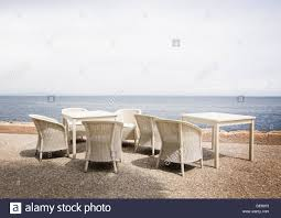 Outdoor Furniture Mallorca by White Rattan Furniture In White Gravel With Horizon View Over