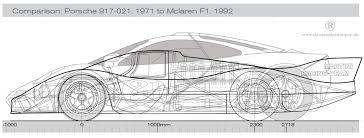 mclaren drawing porsche 917 042 lh u0026 mclaren f1 u2014 size comparison porsche cars