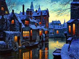 Winter Houses by Winter Houses City Canal Nature Wallpaper 1024x768 Winter For Hd