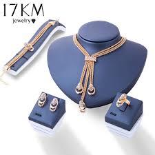 rose gold crystal necklace images Best 17km rose gold color crystal necklace earring bracelet ring jpg