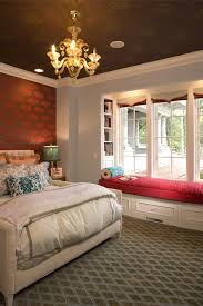 Bedroom With Red Accent Wall - sparkling murano glass chandelier with red accent wall