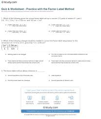 quiz u0026 worksheet practice with the factor label method study com