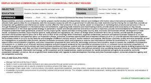 second commercial secretary commercial diplomat cover letter u0026 resume