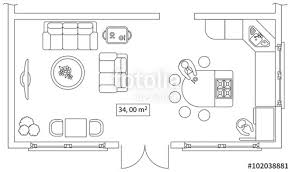 Standard Sofa Size by Architectural Set Of Furniture On Apartment Plan With Sizes