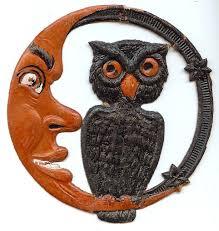 small cardboard crescent moon man u0026 owl halloween decoration