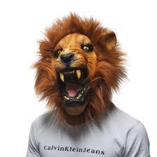 halloween props angry lion head masks animal full latex