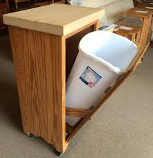 tilt out trash bin with butcher block top amish traditions wv