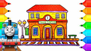 how to draw train station with thomas and friends drawing