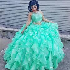 vestidos de quinceanera 16 dress mint green ruffled organza lace quinceanera dresses