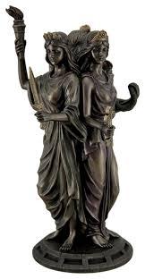 large bronze finish greek goddess hecate triple goddess statue