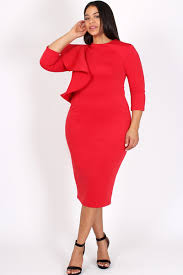 Red Cocktail Dress Plus Size Plus Size Cocktail Ruffled Shoulder Bodycon Dress Plus Size
