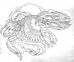 glory uncolored phoenix flying on shining sun background tattoo
