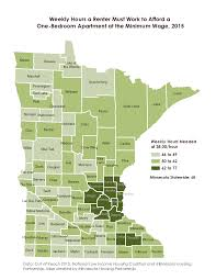 2015 for minnesota s counties to afford a one bedroom apartment at the fair market rent minimum wage workers would need to work between 46 and 77 hours per